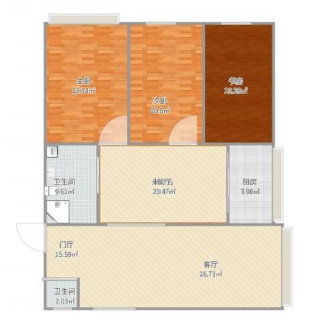 西安花园3室1厅2卫1厨200.00㎡户型图