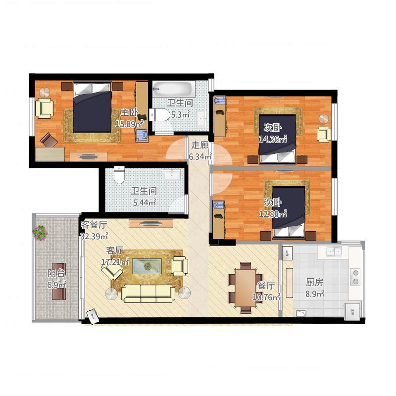 120方A2户型三室两厅