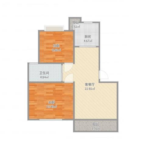 金鹤新城双佳翠庭2室2厅1卫1厨79.00㎡户型图