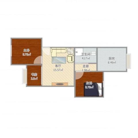 北丽园3室1厅1卫1厨71.00㎡户型图