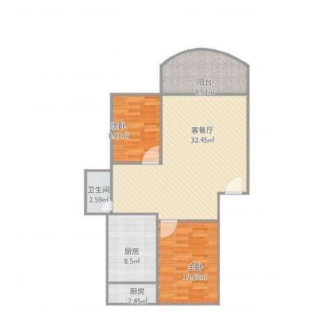 唐园东一街11号c座2室2厅1卫2厨102.00㎡户型图