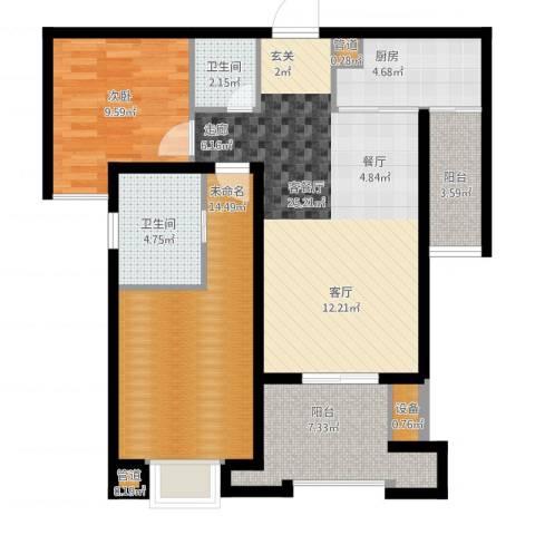 中海九号公馆1室2厅2卫1厨106.00㎡户型图