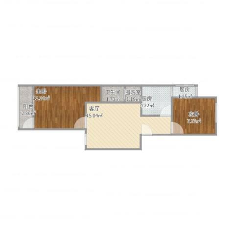 草桥欣园四区2室3厅1卫2厨64.00㎡户型图