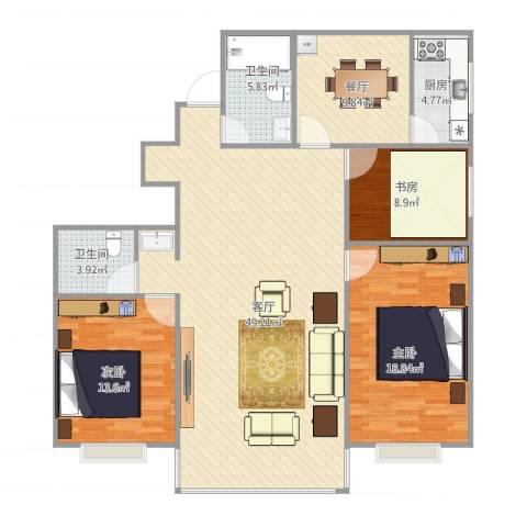 清华苑3室2厅2卫1厨153.00㎡户型图