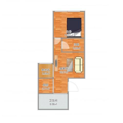 世纪名轩2室2厅1卫1厨75.00㎡户型图