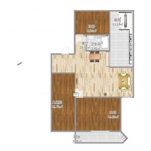 玉兰新村3室1厅1卫1厨119.00㎡户型图