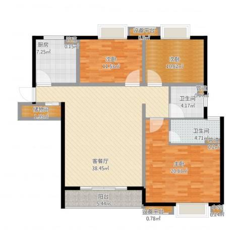 世茂君望墅3室2厅8卫1厨152.00㎡户型图