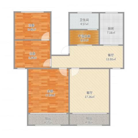 张杨南苑296弄三房3室2厅1卫1厨105.00㎡户型图