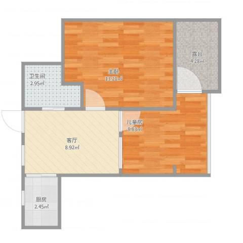 东南二村2室1厅1卫1厨56.00㎡户型图