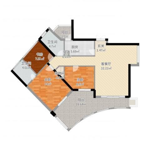 嘉鑫阳光雅居3室2厅2卫1厨139.00㎡户型图