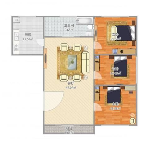 鹏丰苑3室1厅1卫1厨120.37㎡户型图