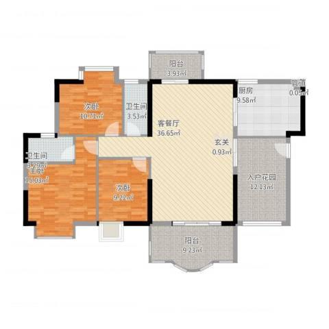 博罗新城建业・金域华府3室2厅2卫1厨158.00㎡户型图