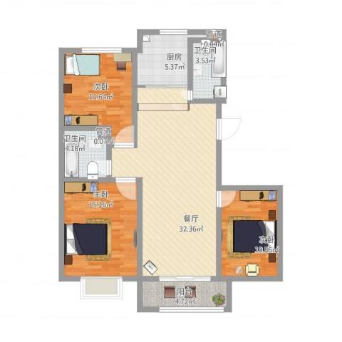 东辉缘3室1厅2卫1厨127.00㎡户型图