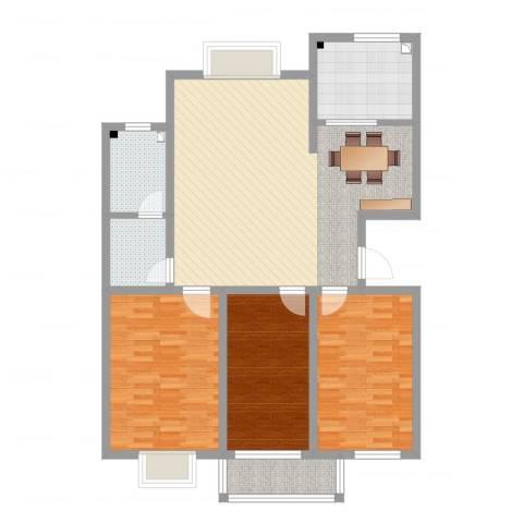 盛世家园3室3厅1卫1厨117.00㎡户型图