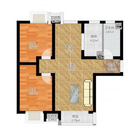 富地广场2室2厅1卫1厨85.00㎡户型图