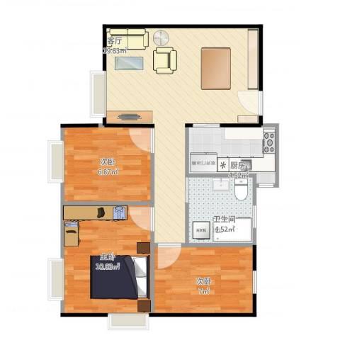 海珠半岛花园3室1厅1卫1厨72.00㎡户型图