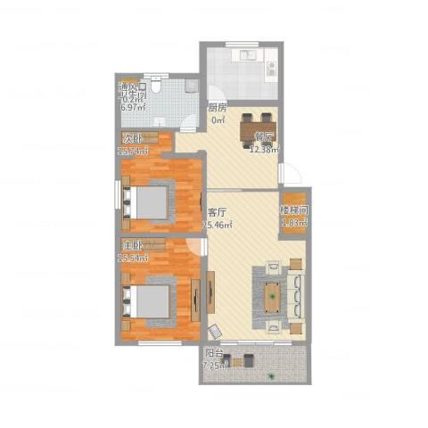 兴业时代花园2室2厅3卫1厨130.00㎡户型图