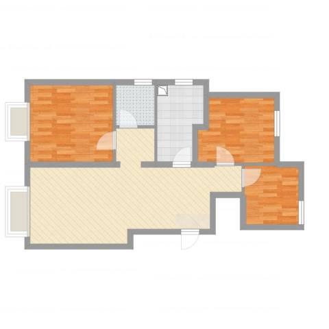 东丽湖万科城鹭湖3室2厅1卫1厨78.00㎡户型图