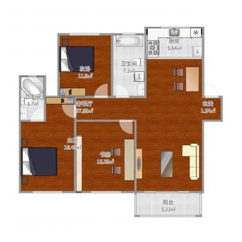 福园小区3室2厅2卫1厨138.00㎡户型图