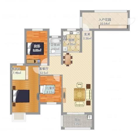 翰林缘花园2室2厅2卫1厨130.00㎡户型图