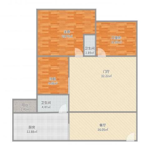 同济广场D座晨域轩18063室1厅2卫1厨150.00㎡户型图