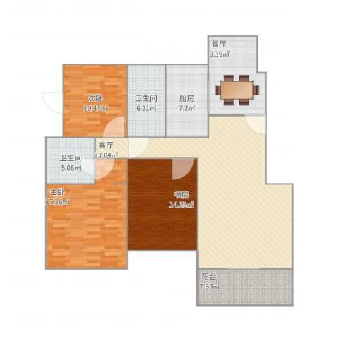 翠湖1号3室2厅2卫1厨143.00㎡户型图