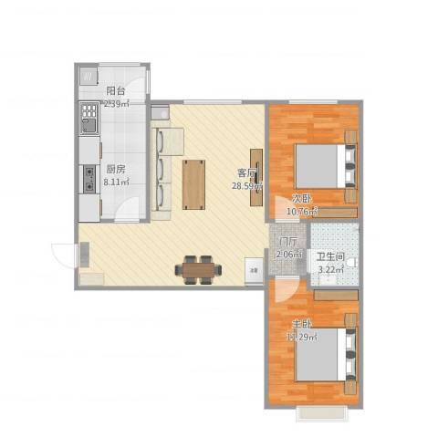 八家嘉苑2室1厅1卫1厨87.00㎡户型图