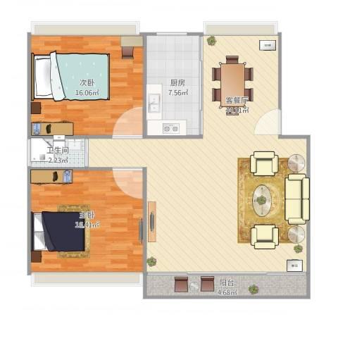 叠翠苑2室2厅1卫1厨121.00㎡户型图