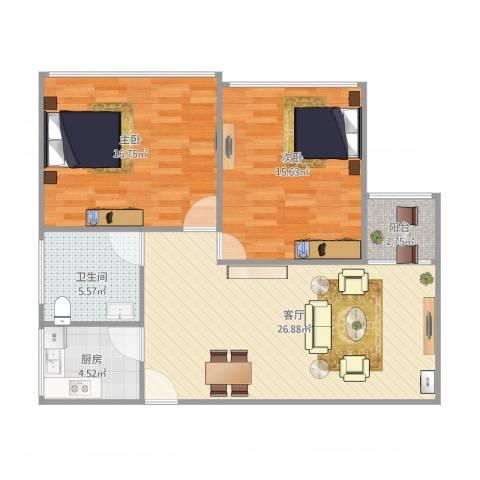 大宅风范城2室1厅1卫1厨96.00㎡户型图