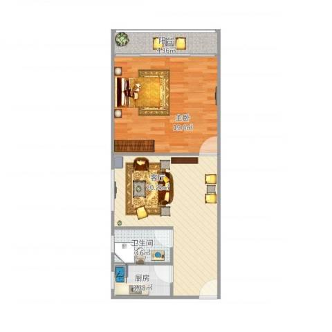 大宅风范城1室1厅1卫1厨69.00㎡户型图