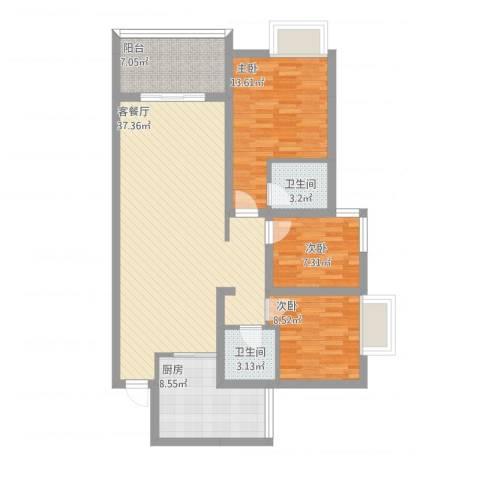 鲁能星城十二街区1#楼1单元3#3室2厅2卫1厨129.00㎡户型图