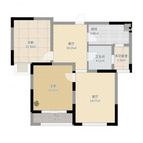 天鹅湾国际滨水社区2室2厅1卫1厨95.00㎡户型图