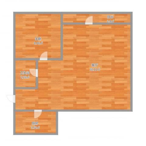 南浩花园1室1厅1卫1厨63.00㎡户型图