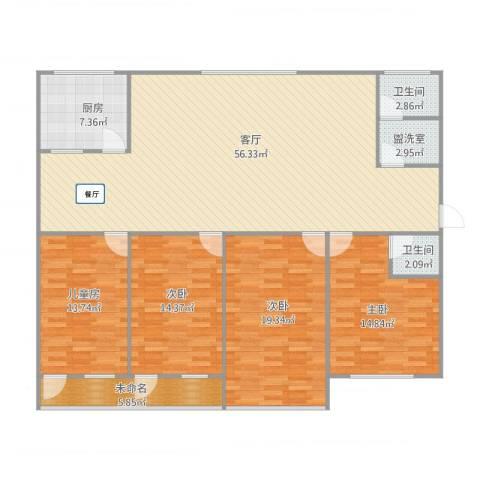 医药公司家属院人和小区最南边那栋4室3厅2卫1厨186.00㎡户型图