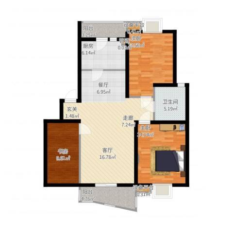 金虹花园3室2厅1卫1厨126.00㎡户型图