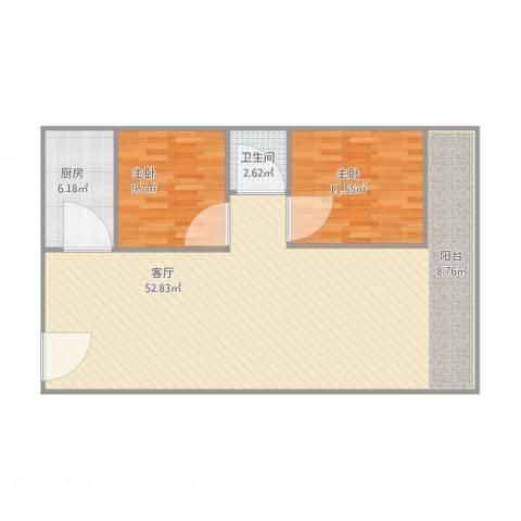 金澜新村2室1厅1卫1厨110.00㎡户型图