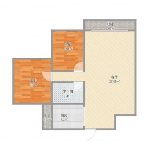 江南名居(二期)2室1厅1卫1厨73.00㎡户型图