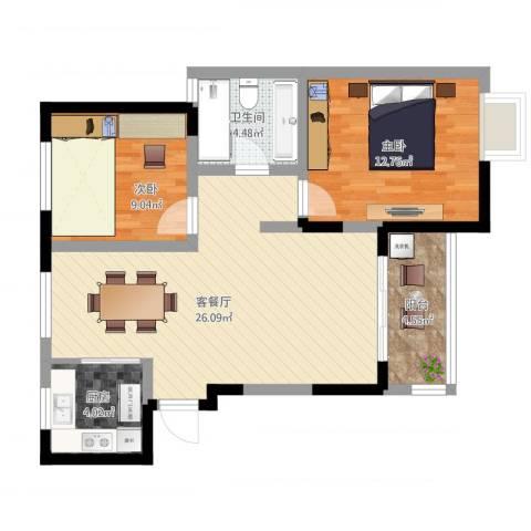 新城域83平2室2厅1卫1厨88.00㎡户型图