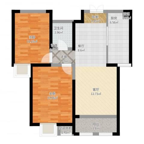 西华公馆2室2厅1卫1厨93.00㎡户型图