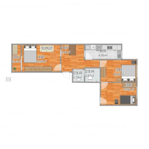 漪汾苑小区3室1厅2卫1厨64.44㎡户型图