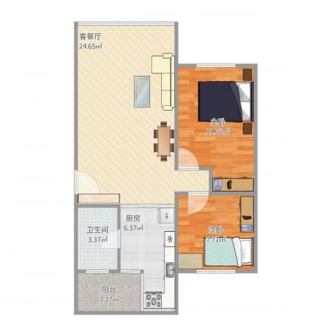 天平花苑2室2厅1卫1厨77.00㎡户型图