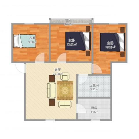 听潮四村-我家3室1厅1卫1厨87.00㎡户型图