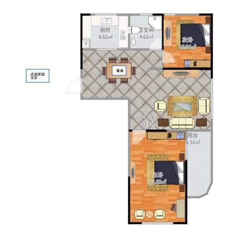 河畔花城2室1厅1卫1厨112.00㎡户型图
