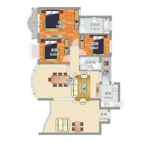 红荔花园3室2厅2卫1厨130.00㎡户型图