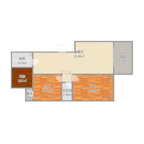 元丰家园3室2厅1卫1厨106.00㎡户型图
