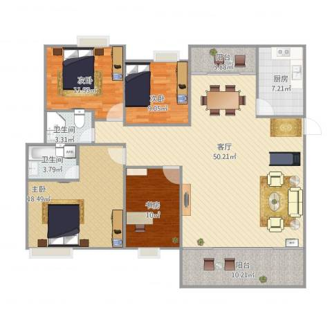 康怡花园4室1厅2卫1厨171.00㎡户型图