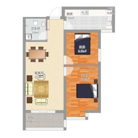 卓越香樟美域2室2厅1卫1厨86.00㎡户型图