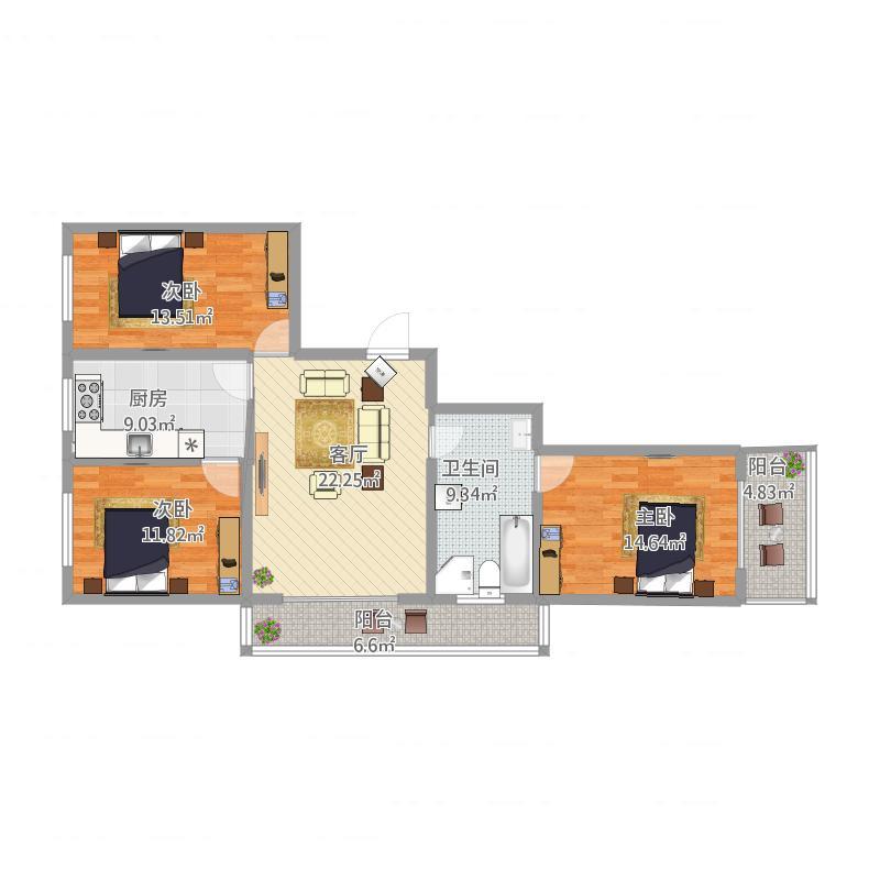 130放三室两厅