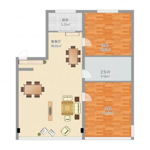 金海花园2室2厅1卫1厨140.00㎡户型图
