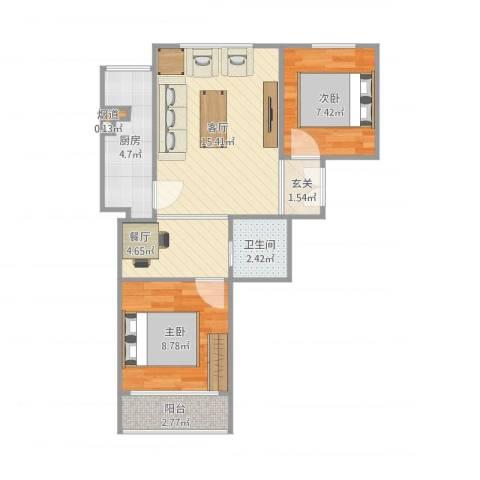 名苑山庄2室2厅2卫1厨66.00㎡户型图